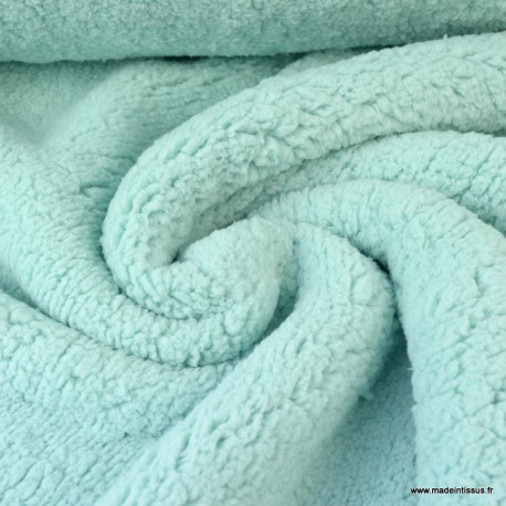 Tissu Fausse Fourrure maille SHERPA Menthe.x1m
