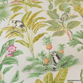 Tissu ameublement jacquard Lémuriens, ananas et palmiers