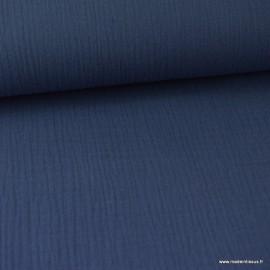 Tissu Double gaze coton marine claire