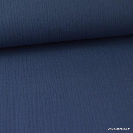 Tissu Double gaze coton marine .x1m