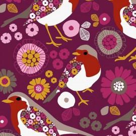 Tissu sweat léger motifs oiseaux et fleurs fond Prune