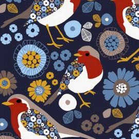 Tissu sweat léger motifs oiseaux et fleurs fond Bleu Marine