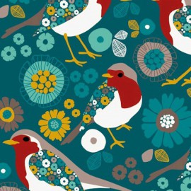 Tissu sweat léger motifs oiseaux et fleurs fond Vert
