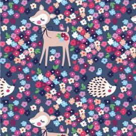Tissu jersey Oeko tex motifs biches, hérissons et fleurs fond violet