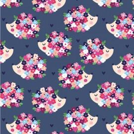Tissu jersey Oeko tex motifs hérissons et fleurs fond violet