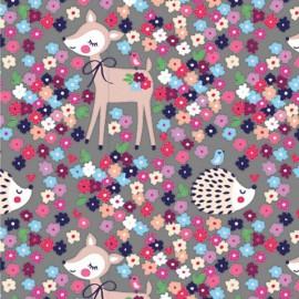 Tissu jersey Oeko tex motifs biches, hérissons et fleurs fond Gris