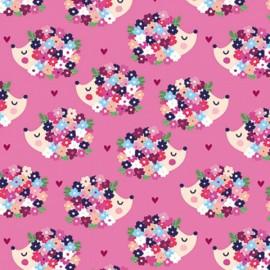 Tissu jersey Oeko tex motifs hérissons et fleurs fond Rose