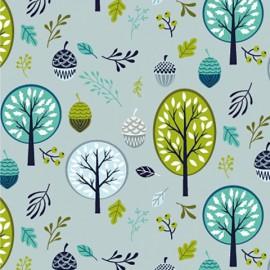 Tissu jersey Oeko tex motifs arbres et glands gris et menthe