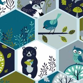Tissu jersey Oeko tex motifs oiseaux, renards et arbres Menthe, gris et bleu