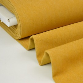 Tissu jean stretch coloris moutarde