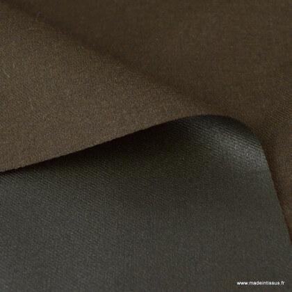 Tissu gabardine polyester viscose enduite étanche chocolat