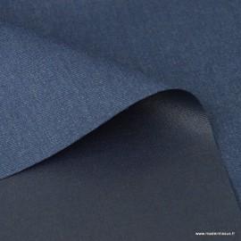 Tissu gabardine polyester viscose enduite étanche bleu denim.