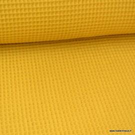 Tissu nid d'abeille Moutarde - Oeko tex