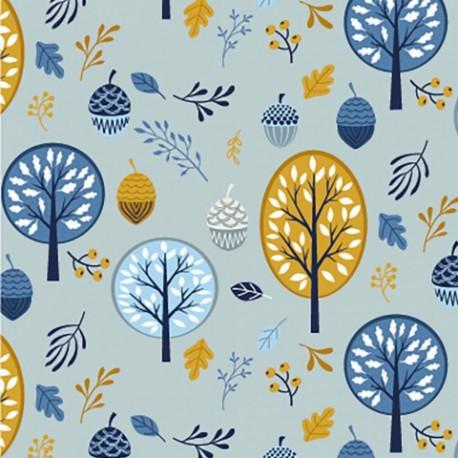 Tissu jersey Oeko tex motifs arbres et glands moutarde et bleu