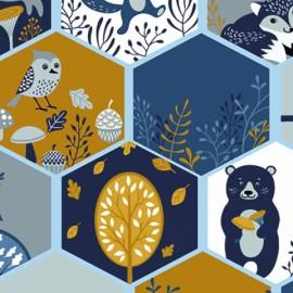 Tissu jersey Oeko tex motifs oiseaux, renards et arbres Moutarde et bleu