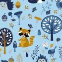 Tissu jersey Oeko tex motifs Forest party Bleu et moutarde