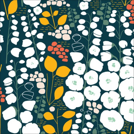 Tissu Bio coton CLOUD9 - Collection Stockbridge Vert et noir
