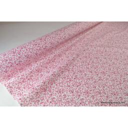 tissu popeline coton imprimé fleurettes elenie rose x50cm