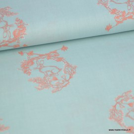 Tissu popeline motif Lapin  couronne de fleurs fond Menthe