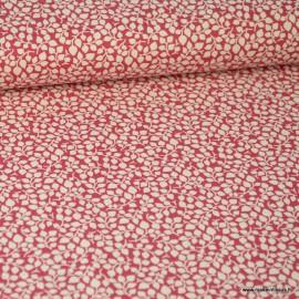 Tissu coton Feuilles Rouge et Blanc