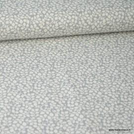 Tissu coton Feuilles Gris et Blanc