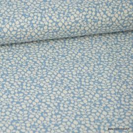 Tissu coton Feuilles bleu Bleu gris et Blanc