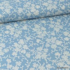 Tissu coton Vignes bleu gris et Blanc