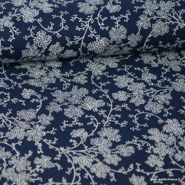 Tissu coton Vignes bleu marine et Blanc
