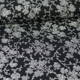 Tissu coton Vignes Noir et Blanc