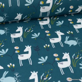 Tissu coton imprimé biches et lapins vert Paon et blanc - Oeko tex