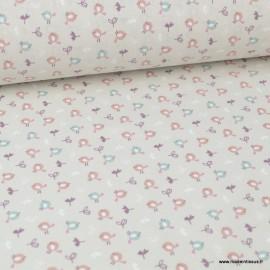 Tissu coton imprimé petits oiseaux céladon et noisette fond Lin clair - Oeko tex