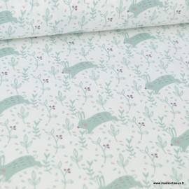 Tissu coton imprimé lapin Céladon fond blanc - Oeko tex