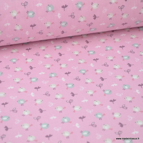 Tissu coton imprimé petits oiseaux céladon et Lin fond Rose - Oeko tex