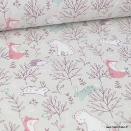 Tissu coton imprimé renards, ours, hérissons et feuillage prune fond Grège - Oeko tex
