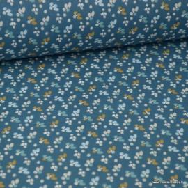 Tissu coton imprimé petites fleurs noisettes et bleu fond Indigo -  Oeko tex