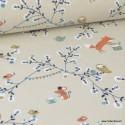 Tissu coton imprimé petites fleurs, oiseaux, renards, hiboux et souris fond Lin -  Oeko tex