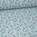 Tissu coton imprimé petites fleurs noisettes et blanches fond bleu Nil -  Oeko tex