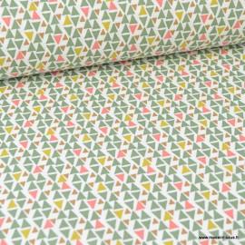 Tissu coton imprimé triangles moutarde et verts - Oeko tex
