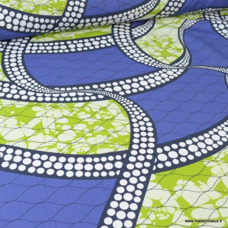 Tissu Wax popeline imprimé spirales bleu et vert pistache - label oeko tex