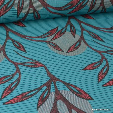 Tissu Wax popeline imprimé fleurs fuschia fond turquoise à rayures noir - label oeko tex