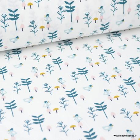 Tissu coton imprimé oiseaux et branches Paon et rose fond Blanc - Oeko tex
