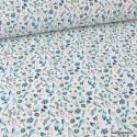 Tissu coton imprimé fleurs vert Paon, rose et bleu fond Blanc - Oeko tex
