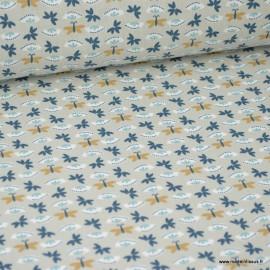 Tissu coton imprimé petites fleurs et papillons bleu marine, lin et moutarde -  Oeko tex