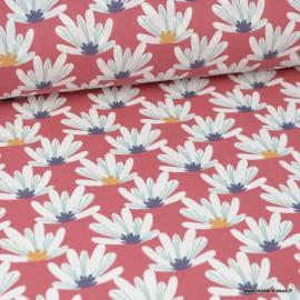 Tissu coton imprimé fleurs de Lotus Myriel blanches fond Brandy. Oeko tex