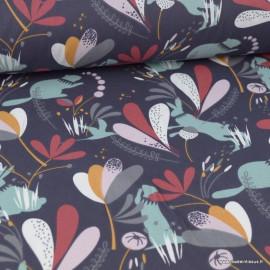 Tissu coton Lorena imprimé Lapins, marmottes et feuillage fond Prune - Oeko tex