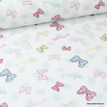 Tissu coton DISNEY imprimé Noeuds de Minnie Rose et menthe - Oeko tex