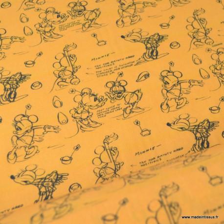 Tissu coton DISNEY imprimé Mickey et Minnie fond Orange - Oeko tex