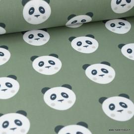 Tissu coton motif panda fond Kaki - Oeko tex