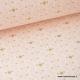 Tissu 100% coton formes géométriques sur fond rose pale  x50cm
