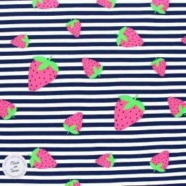 Tissu jersey à rayures Oeko tex motifs Fraises fluo - bleu marine